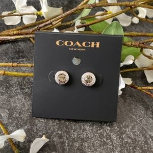 COACH Silver Open Circle Stone Stud Earrings